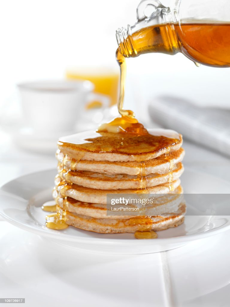 Whole Wheat Pancakes with Maple Syrup : Stock Photo