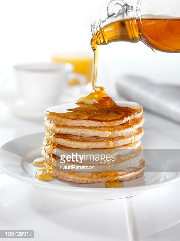 Whole Wheat Pancakes with Maple Syrup