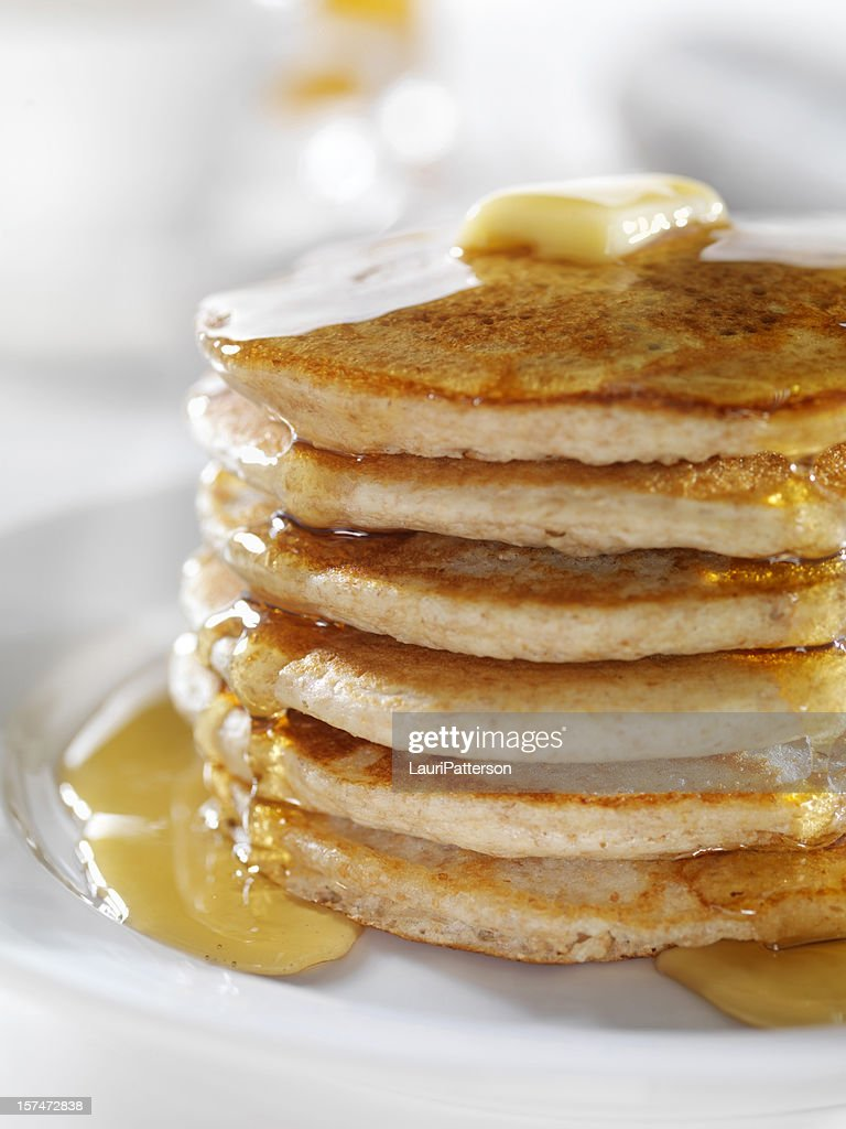 Whole Wheat Pancakes with Syrup : Stock Photo