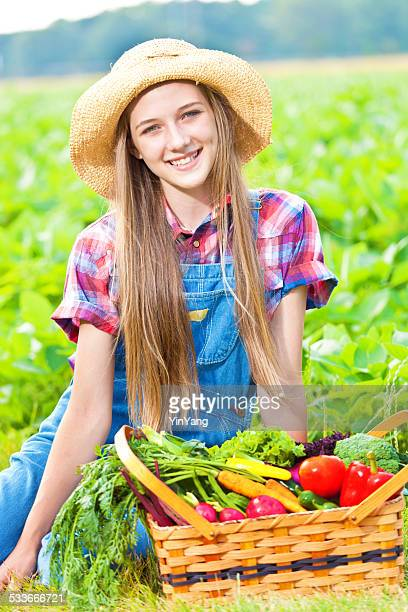 Wholesome Farm Girl with Fresh Produce and Vegetable Verticle