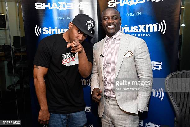 Whoo Kid and Akon pose together for a photo during 'The Whoolywood Shuffle' with host DJ Whoo Kid on Eminem's Shade 45 at SiriusXM Studio on May 9...