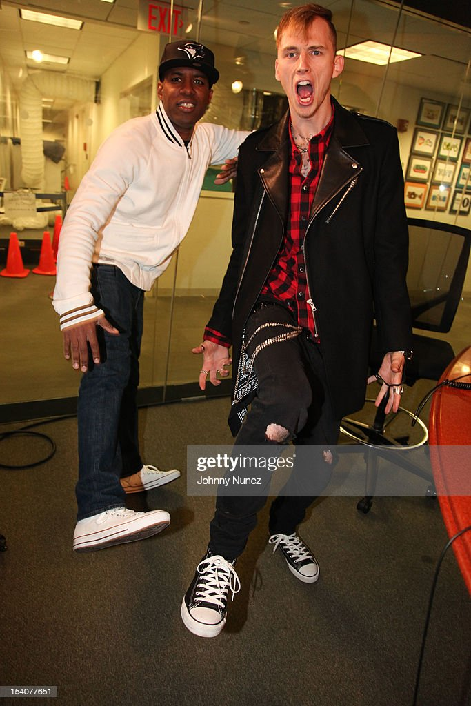 DJ Whoo Kid and Machine Gun Kelly invade 'The Whoolywood Shuffle' at SiriusXM Studios on October 8, 2012 in New York City.