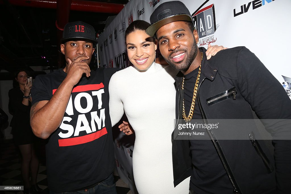 DJ Whoo Kid, Jordin Sparks and Jason Derulo attend Jordin Sparks & Jason Derulo Welcome to New York Red, White and Black Super Bowl Party at WIP on January 29, 2014 in New York City.