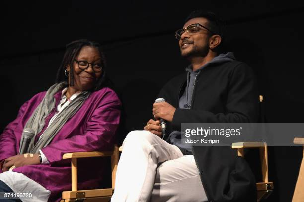 Whoopi Goldberg and actor Utkarsh Ambudkar speak onstage during truTV Presents 'The Problem With Apu' DOC NYC screening and reception at IFC Center...