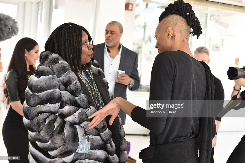 <a gi-track='captionPersonalityLinkClicked' href=/galleries/search?phrase=Whoopi+Goldberg&family=editorial&specificpeople=202463 ng-click='$event.stopPropagation()'>Whoopi Goldberg</a> and designer Stevie Boi attends backstage of Stevie Boi during Fall 2016 New York Fashion Week at Studio 450 on February 13, 2016 in New York City.
