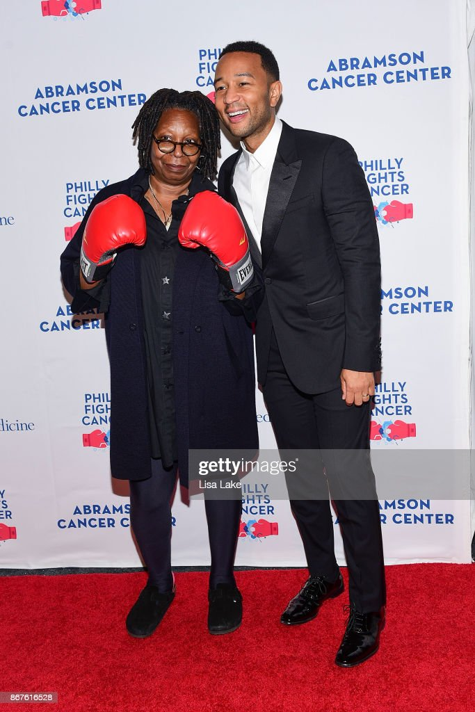 Whoopi Goldberg and John Legend attend the Philly Fights Cancer: Round 3 Fundraiser for The Abramson Cancer Center at Penn Medicine on October 28, 2017 in Philadelphia, Pennsylvania.