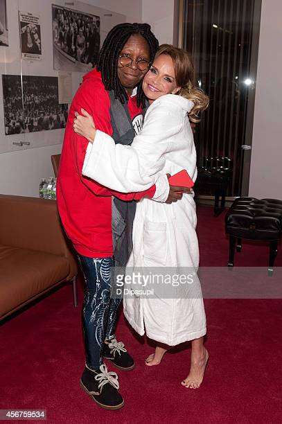 Whoopi Goldberg and Kristin Chenoweth pose backstage before the 'I Am Harvey Milk' Benefit Concert at Avery Fisher Hall Lincoln Center on October 6...