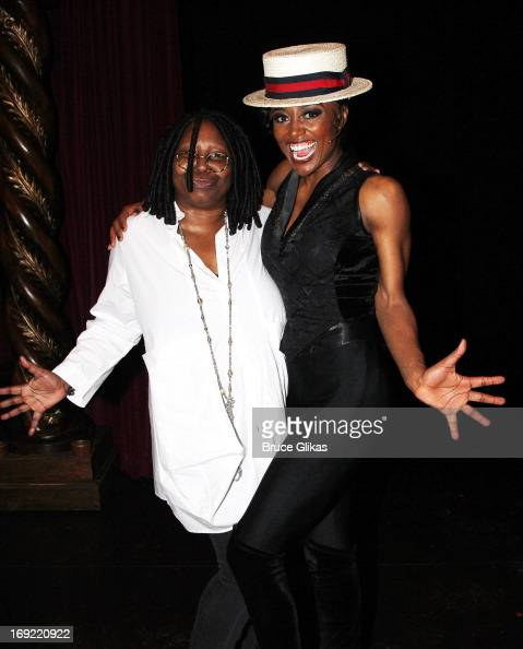 Whoopi Goldberg and Patina Miller as 'The Leading Player' pose backstage at the hit musical 'Pippin' on Broadway at The Music Box Theater on May 21...