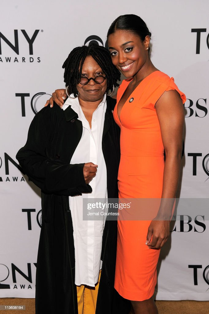 Whoopi Goldberg and Patina Miller attend the 5th Annual Tony Awards meet the nominees press reception at Millennium Broadway Hotel on May 4 2011 in...