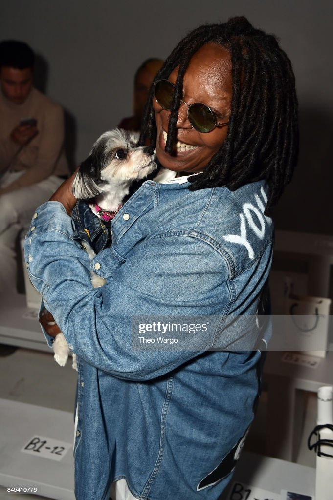 Whoopi Goldberg and Tinkerbell The Dog attend Vivienne Hu fashion show during New York Fashion Week: The Shows at Gallery 3, Skylight Clarkson Sq on September 10, 2017 in New York City.