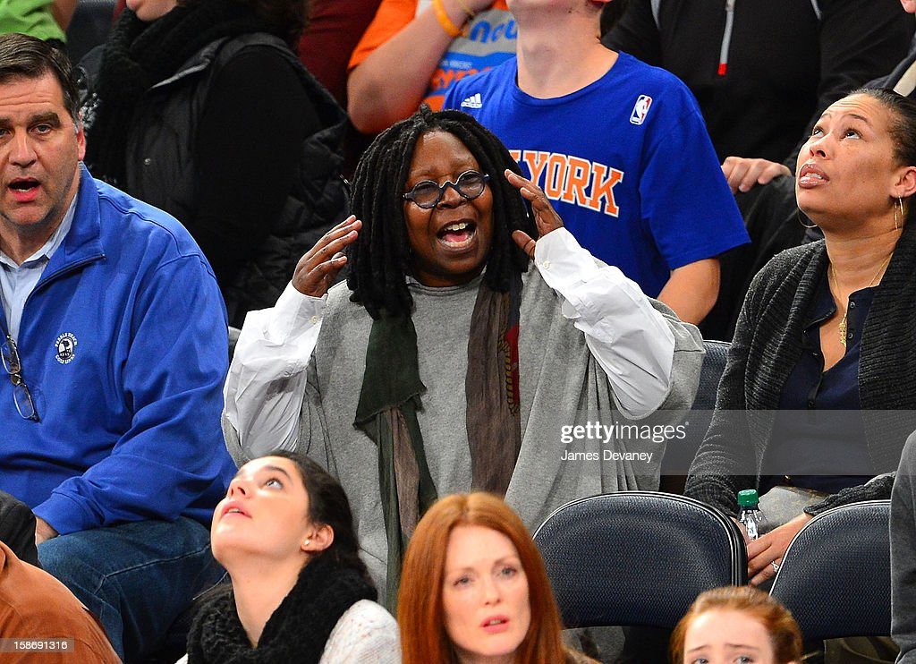 Whoopi Goldberg attends the Minnesota Timberwolves vs New York Knicks game at Madison Square Garden on December 23, 2012 in New York City.