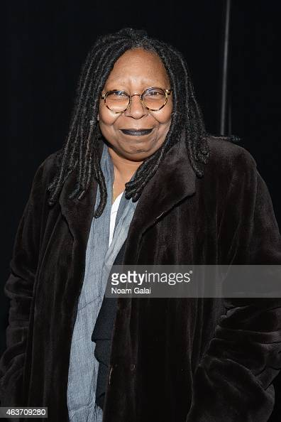 Whoopi Goldberg is pictured backstage at the Skingraft fashion show during MercedesBenz Fashion Week Fall 2015 at The Pavilion at Lincoln Center on...