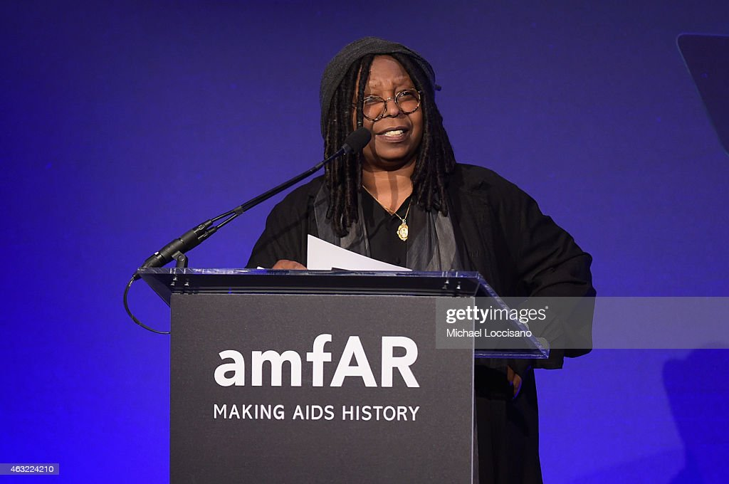 Whoopi Goldberg speaks onstage at the 2015 amfAR New York Gala at Cipriani Wall Street on February 11 2015 in New York City