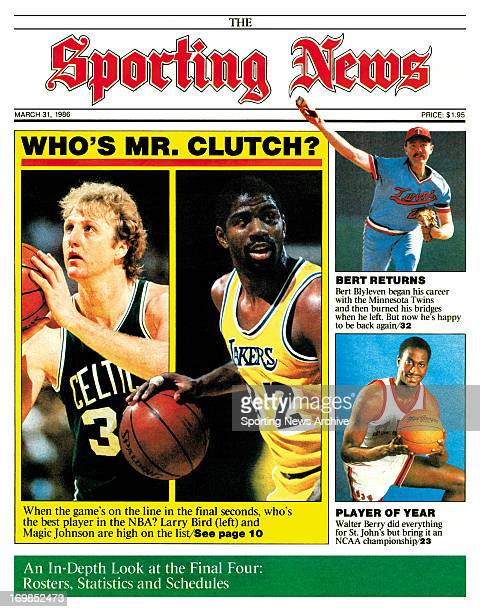 Boston Celtics' Larry Bird and LA Lakers' Magic Johnson March 31 1986 Who's Mr Clutch When the game's on the line in the final seconds who's the best...