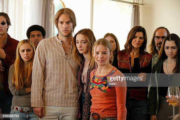 AQUARIUS 'Why Don't We Do It in The Road' Episode 203 Pictured Andy Favreau as Dennis Wilson Emma Dumont as Emma Karn Whitney Rose Pynn as Minnie