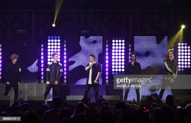 Why Don't We performs at the Z100's iHeartRadio Jingle Ball 2017 at Madison Square Garden on December 7 2017 in New York / AFP PHOTO / ANGELA WEISS