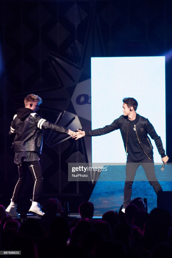 Why Don't We performs onstage during the Q102's iHeartRadio Jingle Ball 2017 at the Wells Fargo Center in Philadelphia, PA, on December 6, 2017.