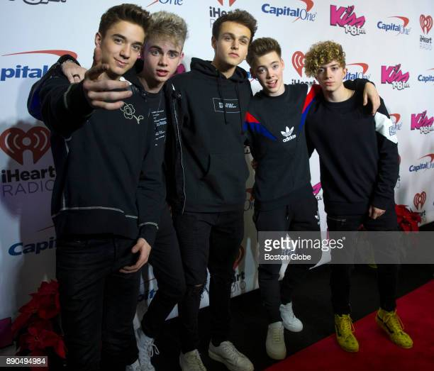 Why Don't We pose on the red carpet during the Kiss 108 Jingle Ball concert at TD Garden in Boston on Dec 10 2017