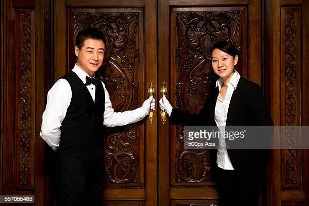 Wiater and Waitress Opening the Door