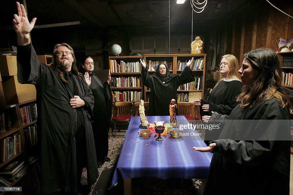 Wicca religion practitioners Rev Don Lewis Rev Krystal HighCorrell and Rev Virgina Powell HPS and student Ashleigh Powell and Cathy Smith participate...