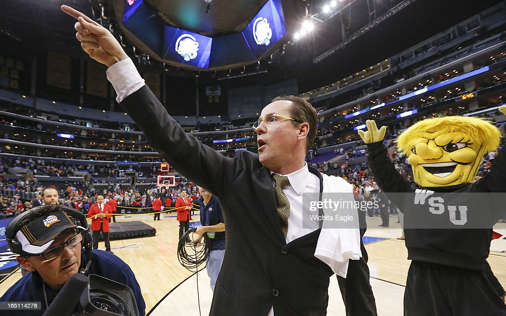 Wichita State head coach Gregg Marshall points to the crowd after his team beat Ohio State, 70-66, in the West Region Final of the NCAA Tournament on Saturday, March 29, 2013, at Staples Center in Los Angeles, California.