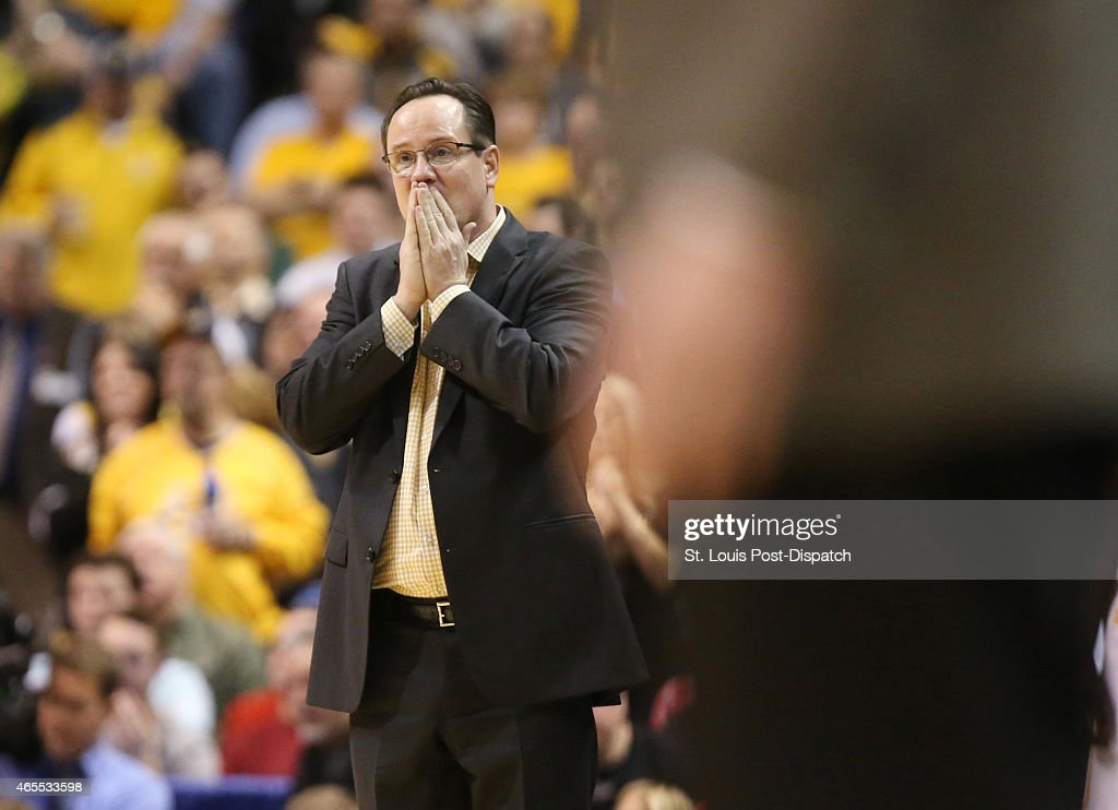 Wichita State head coach <a gi-track='captionPersonalityLinkClicked' href=/galleries/search?phrase=Gregg+Marshall&family=editorial&specificpeople=623591 ng-click='$event.stopPropagation()'>Gregg Marshall</a> reacts after a foul is called against his team in second-half action against Illinois State in the Missouri Valley Conference tournament semifinals on Saturday, March 7, 2015, at the Scottrade Center in St. Louis. Illinois State advanced, 65-62.