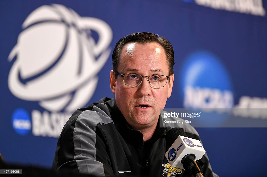 Wichita State head coach <a gi-track='captionPersonalityLinkClicked' href=/galleries/search?phrase=Gregg+Marshall&family=editorial&specificpeople=623591 ng-click='$event.stopPropagation()'>Gregg Marshall</a> speaks to the media on Saturday, March 21, 2015, in advance of Sunday's the third-round NCAA Tournament game against Kansas at CenturyLink Center in Omaha, Neb.