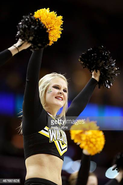 Wichita State Shockers cheerleaders performs in the first half against the Notre Dame Fighting Irish during the Midwest Regional semifinal of the...