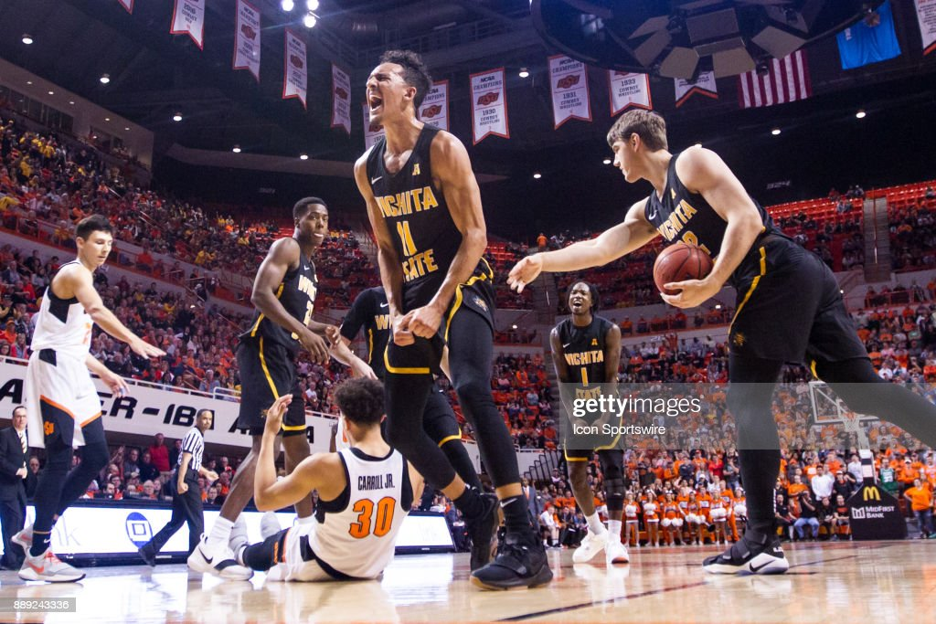 Wichita State Shockers guard Landry Shamet (11) celebrates after a play during the college mens basketball game between the Wichita State Shockers and the Oklahoma State Cowboys on December 9, 2017 at Gallagher-Iba Arena in Stillwater, Oklahoma.