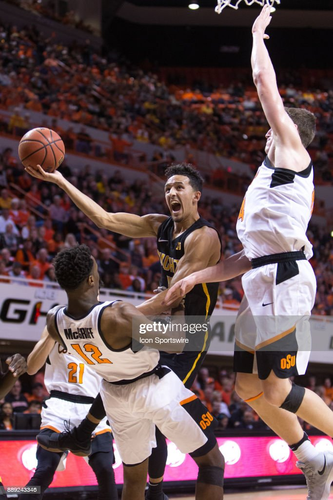 Wichita State Shockers guard Landry Shamet (11) puts up a shot during the college mens basketball game between the Wichita State Shockers and the Oklahoma State Cowboys on December 9, 2017 at Gallagher-Iba Arena in Stillwater, Oklahoma.
