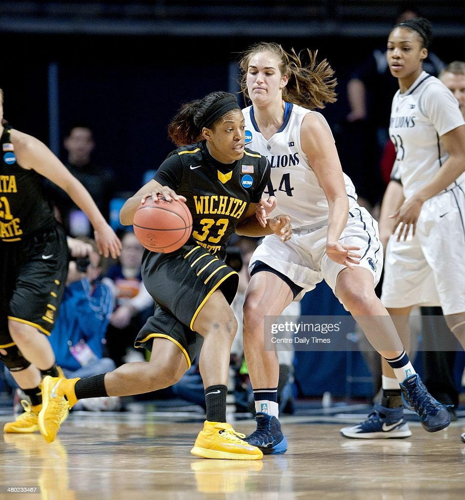 Wichita State Shockers' Michelle Price dribbles around Penn State Lady Lions' Tori Waldner at the Bryce Jordan Center in State College, Pa., on Sunday, March 23, 2014. Penn State won, 62-56, in the first round of the women's NCAA Tournament.