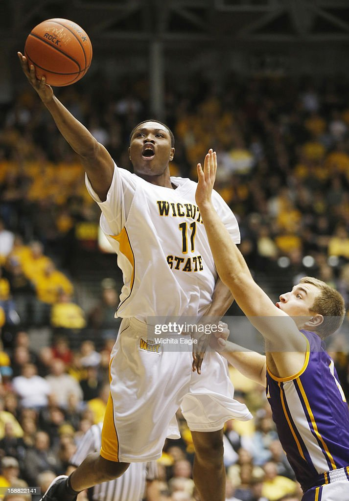 Wichita State University's Cleanthony Early scores a basket in the first period against University of Northern Iowa at Koch Arena in Wichita, Kansas on Sunday, December 30, 2012. WSU won 66-41.
