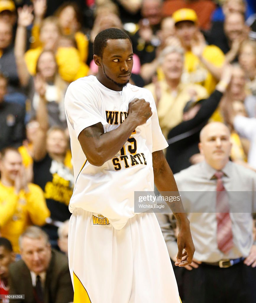 Wichita State's Nick Wiggins pounds his chest after hitting three-pointer against Bradley in the second half at Koch Arena in Wichita, Kansas, Saturday, January 26, 2013. WSU defeated Bradley, 73-39.
