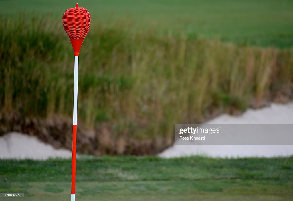 A wicker basket flagstick is seen on the 17th hole during Round Three of the 113th U.S. Open at Merion Golf Club on June 15, 2013 in Ardmore, Pennsylvania.
