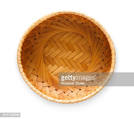 Wicker basket isolated on white background, top view : Stock Photo