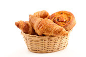 wicker basket with croissant