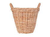 Wicker baskets isolated on white background.