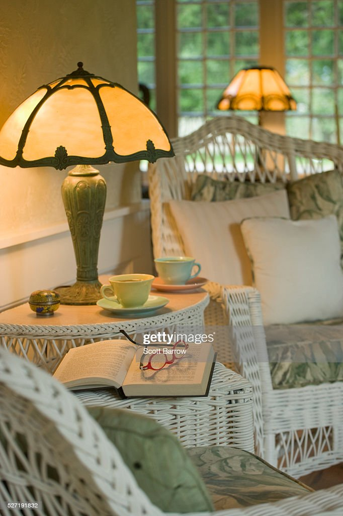 Wicker furniture in cozy room : Bildbanksbilder