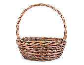 Wicker rattan basket isolated on white background.Old rattan basket