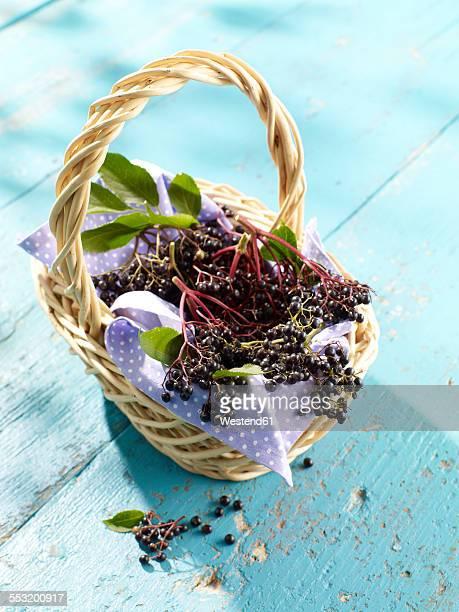 Wickerbasket of elderberries
