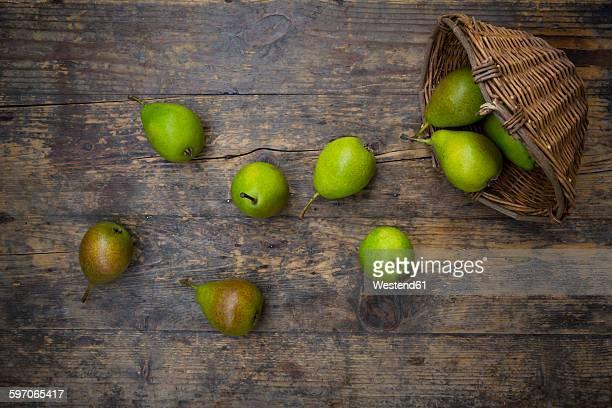 Wickerbasket of organic Bonne de Longueval on dark wood