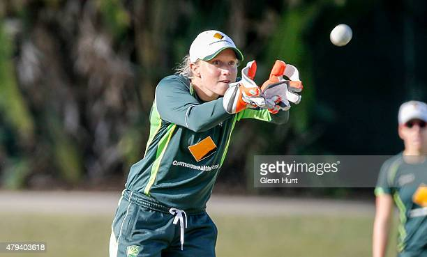 Wicket Keeper Alyssa Healy in action during the cricket match between the National Indigenous Development Squad and the Southern Stars at Allan...