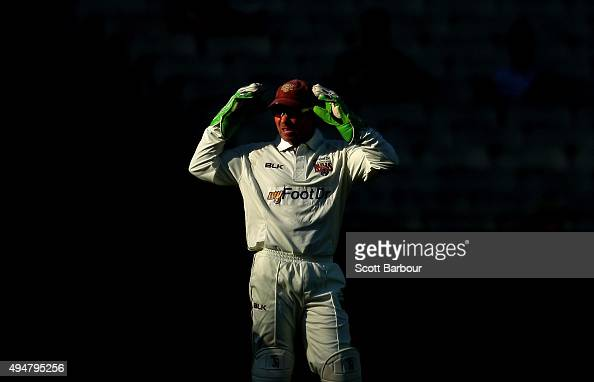 Wicketkeeper Chris Hartley of Queensland looks on during day two of the Sheffield Shield match between Victoria and Queensland at Melbourne Cricket...