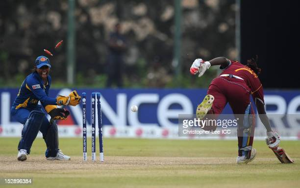 Wicketkeeper Dilani Manodara of Sri Lanka celebrates running out Stafanie Taylor of West Indies during the ICC Women's World Twenty20 2012 Group B...