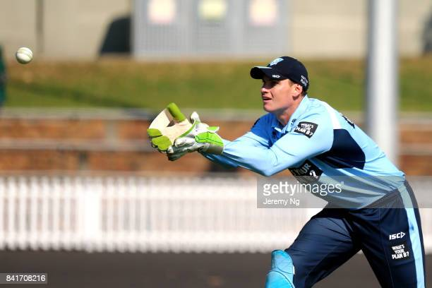 Wicketkeeper Jay Lenton of Cricket NSW receives the ball during the Cricket NSW Intra Squad Match at Hurstville Oval on September 2 2017 in Sydney...