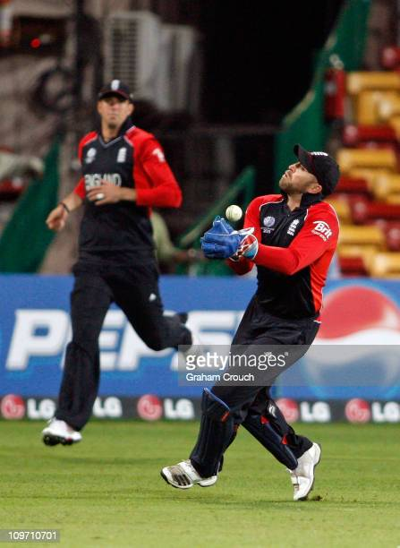 Wicketkeeper Matt Prior of England drops a catch off Ed Joyce of Ireland in the Group B 2011 ICC World Cup match between England and Ireland at M...