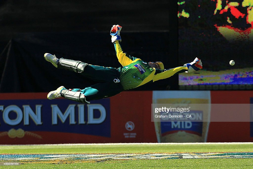 Wicketkeeper <a gi-track='captionPersonalityLinkClicked' href=/galleries/search?phrase=Matthew+Wade&family=editorial&specificpeople=724041 ng-click='$event.stopPropagation()'>Matthew Wade</a> attempts a catch during game four of the One Day International series between Australia and South Africa at Melbourne Cricket Ground on November 21, 2014 in Melbourne, Australia.