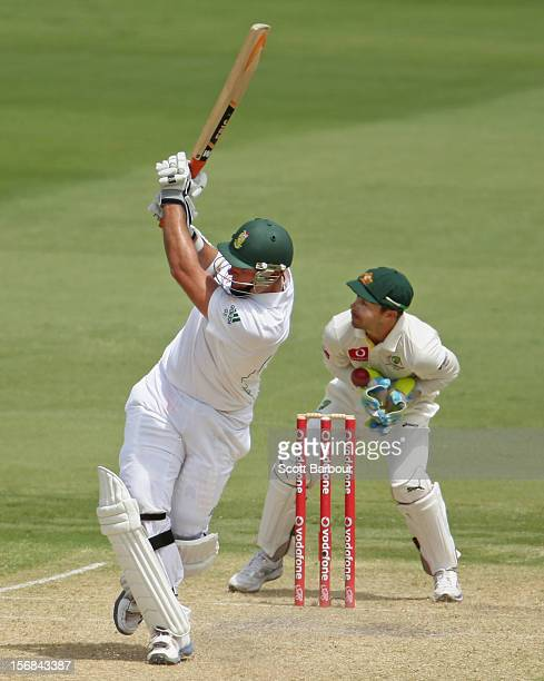 Wicketkeeper Matthew Wade of Australia misses the stumping of Graeme Smith of South Africa during day two of the Second Test match between Australia...