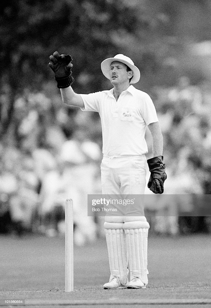Wicketkeeper Stuart Waterton in action for Northamptonshire during a John Player League cricket match against Somerset held at Wellingborough School, Wellingborough on 10th August 1986. There was no result after rain ended play. (Bob Thomas/Getty Images).