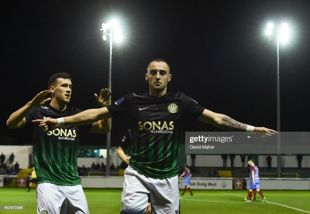 Wicklow , Ireland - 13 March 2017; Dylan Connolly of Bray Wanderers celebrates after scoring his side's second goal with team-mate Aaron Greene during the SSE Airtricity League Premier Division match between Bray Wanderers and Drogheda United at the Carlisle Grounds in Bray, Co Wicklow.